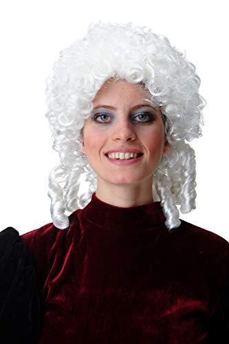 (WIG ME UP - 91203-ZA62 Perücke Herren Damen Karneval Halloween Barock Renaissance lockig Korkenzieherlocken weiß Zöpfe)