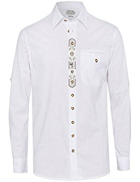 OS Trachten Moser Trachten Trachtenhemd Weiß Langarm 112611 von, Material Baumwolle