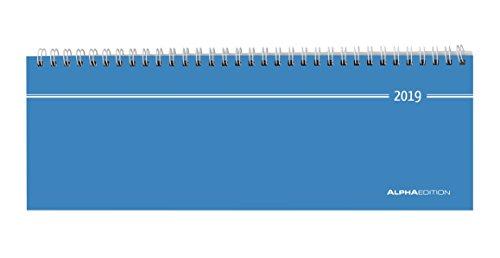 Tisch-Querkalender blau 2019 - Bürokalender / Tischkalender (28,5 x 10) - 1 Woche 2 Seiten (Längliche Ring Silber)