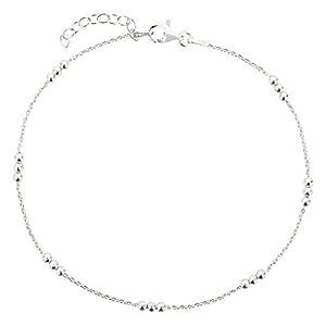 7K Fußkettchen, Fußkette, Ankerkette aus 925 Sterling Silber als Fußschmuck für Damen und Mädchen, Länge 22-25cm, Modell 18