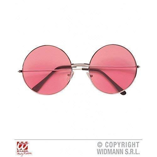 Lively Moments Brille mit pinken Gläsern der 60er / 70er Jahre / Hippiebrille / Spaßbrille / Faschingsbrille