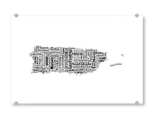 artboxONE Acrylglasbild 150x100 cm Typografie Puerto Rico Map Black Bild hinter Acrylglas - Bild Karte map freistaat (Bilder Von Puerto Rico)
