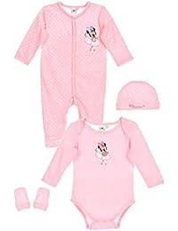 Minnie Coffret Pyjama, Body, Bonnet moufles bébé Fille Rose de ... 3d5462c4849