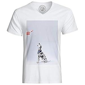 T-Shirt Homme Chien Dalmatien avec Bandana Bleu à Motifs Reçoit Une Friandise Animaux