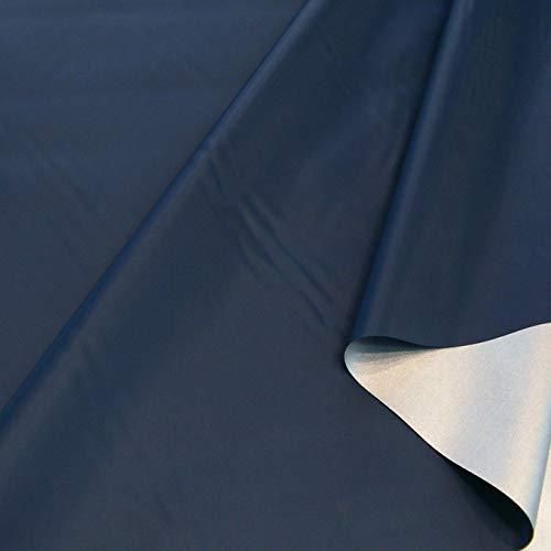 TOLKO Sonnenschutz Verdunklungsfolie/Verdunklungsstoff Meterware | hohe Lichtdichte mit Thermo-Beschichtung, als Fensterfolie, Verdunklungsvorhänge/Gardine oder Verdunklungsrollo (Dunkel Blau)