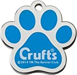 Bow Wow Meow mit Personalisierung Crufts Blaue Hundemarke Pfote (Groß) | GRAVURSERVICE | Offizielle, Personalisierte Crufts-Haustiermarken