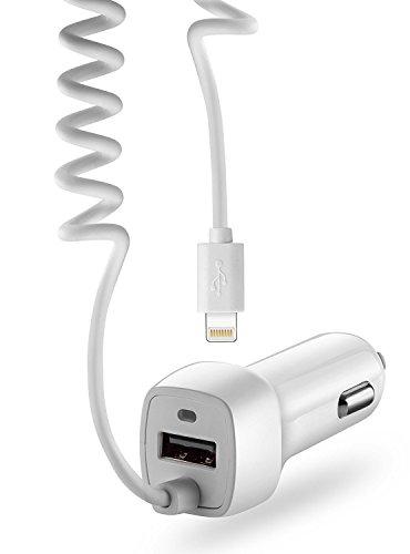 Kfz Auto Ladekabel Ladegerät mit USB Steckplatz und Kabel [Lightning] für [Zigarettenanzünder] für iPhone X, iPhone 8, iPhone 7, Samsung Galaxy S8, Note u.v.m. in weiß von VAPIAO