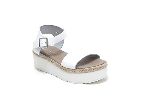 Soldini donna, modello 9436, sandalo in pelle e corda, colore bianco