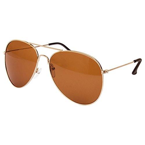 EL-Sunprotect Pilotenbrille Fliegerbrille Sonnenbrille Brille Top Design Braun Gold