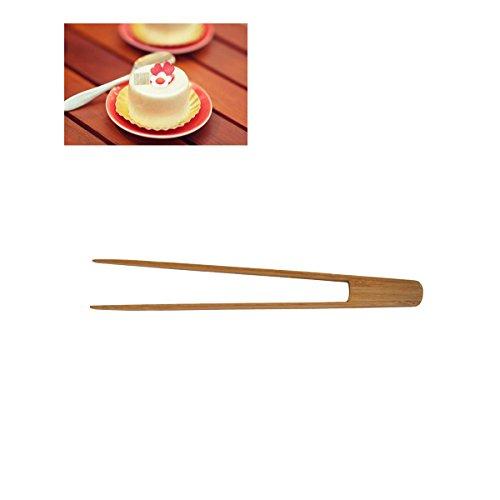 BESTONZON Zangen Grillpfanne aus Bambus-Zangen Long zum Backen und leicht zu Klammern für die kochen Toast Grill Grillen