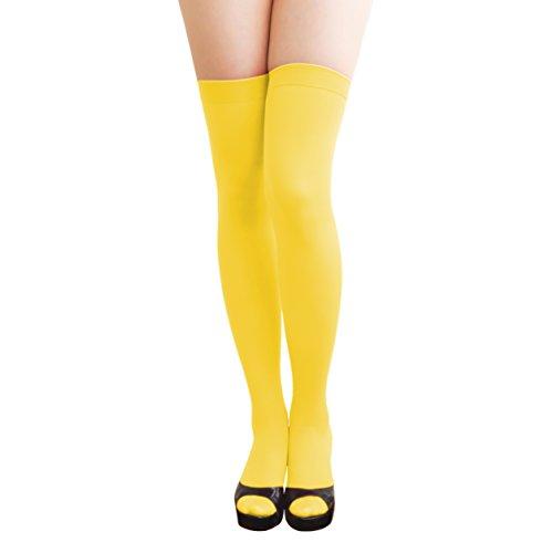 Oblique-Unique® Halterlose Overknees Strumpfhose in Gelb