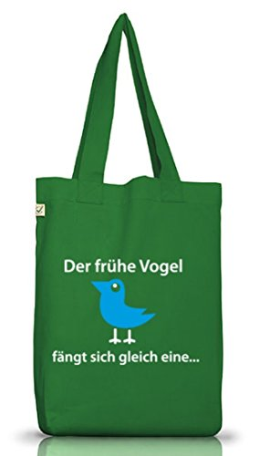 Shirtstreet24, Il Primo Uccello Ne Prende Uno, Borsa In Tessuto Di Juta Terra Verde Muschio Positivo