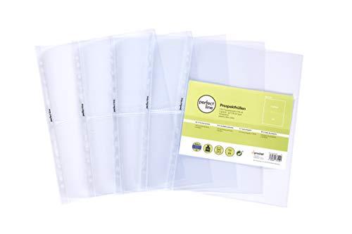 perfect line 100 Sammel-Hüllen 2-geteilt, glas-klar, Prospekt-Huelle DIN-A4 transparent, Sicht-Tasche auf 2 Fächer (A5-quer), Klarsicht-Folie farblos, Einschub oben, für Post-Karten, Fotos, Dokumente