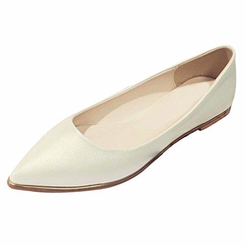 QIYUN.Z Mode Appartements Peu Profondes Femmes Talon Pointu Pu Filles En Cuir Verni Glissent Sur La Chaussure Blanc