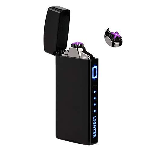 TOPKAN Lichtbogen Feuerzeug, USB Elektro Feuerzeug, Doopel Elektrisches Feuerzeug, Winddchtes USB Aufladbar Plasma Feuerzeug Mit Batterieanzeige (Schwarz)