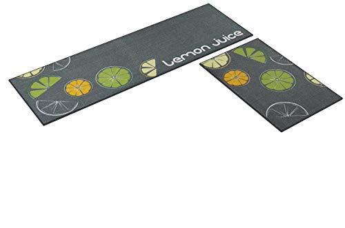 Carvapet 2 Stück rutschfeste Küchenmatte Rückseite aus Gummi Fußmatte Läufer Teppich Set (40 x 120 cm + 40 x 60 cm) Zitrone Design (Grau)