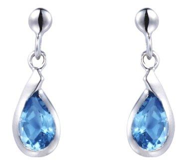 Silver Blue Topaz Drop