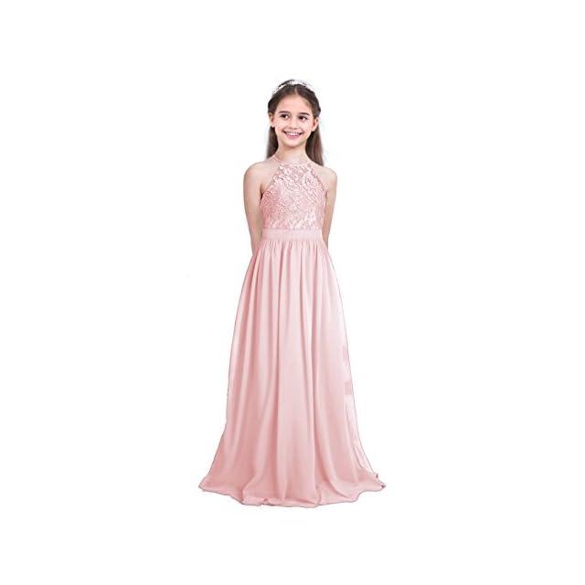 794732cd941 Freebily Enfant Long Robe De Soirée Cocktail Fille Dentelle Fleur Costume  De Cérémonie Mariage Fille Robe ...