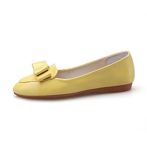 VogueZone009 Femme Couleur Unie Pu Cuir à Talon Bas Pointu Fermeture D'Orteil Tire Chaussures Légeres Jaune