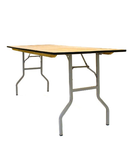 BE Furniture Varnished 6' x 2'6'' Wooden Trestle Table with metal folding legs, Ideal for trade shows, events, car boot sales and around the home