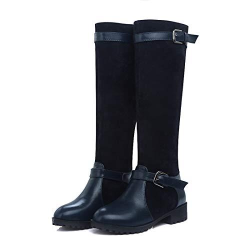 DANDANJIE Damenschuhe Schnalle Winter Reitstiefel Mode Cool Round Toe Kniehohe Stiefel (Farbe : Blau, Größe : 38 EU) (Schnalle Toe Pad)
