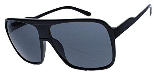 Old School Sonnenbrille Herren Nerd Brille 80er Jahre Flat Top oversized (Triple Black)