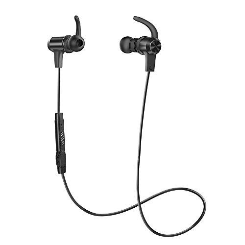 Bluetooth Kopfhörer VAVA 4.1 In Ear Kopfhörer bis zu 8 Stunden Spielzeit AptX, IPX5 Spritzwasserfest mit eingebautem Magnet Ergonomisch gewinkelte Ohrstöpsel, kabellos mit Mikrofon, Aluminium Design