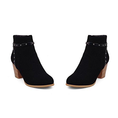 AgooLar Damen Hoher Absatz Niedrig-Spitze Eingelegt Reißverschluss Stiefel mit Rivet Set Schwarz