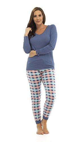 TomFranks, langer Winter-Schlafanzug für Damen aus Polycotton, Alarm/Cuppa bedruckter Pyjama, Nachtwäsche Set Gr. 42/44, Blue Top/Pink Multi Pants (Multi Farbe Gestreiften Pant)