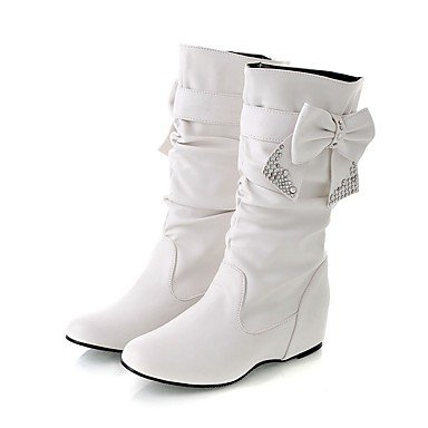 Best 4U® Da donna Stivaletti Stivali Autunno Inverno Finta pelle Casual Bianco Nero Giallo Rosso Meno di 2,5 cm white