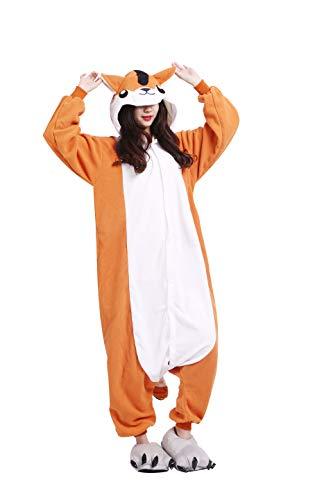 (Pyjama Tier Cosplay Hamster Cartoonstil Animal Kigurumi Plüsch für Erwachsene Unisex)