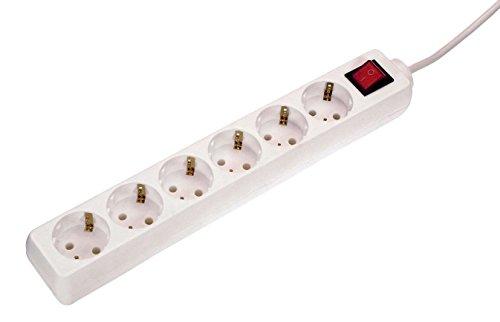as - Schwabe Steckdosenleiste 6-fach mit Schalter - Mehrfachstecker mit 1,4 m Leitung - 230 V / 16 A Mehrfachsteckdose mit Standby-Schalter - IP20 - Weiß I 11501
