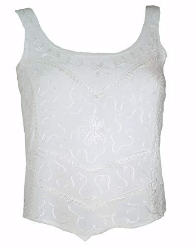 Guru-Shop Besticktes Top Boho Chic, Hippie Top, Damen, Weiß, Synthetisch, Size:36, Tops & T-Shirts Alternative Bekleidung - Damen Besticktes T-shirt