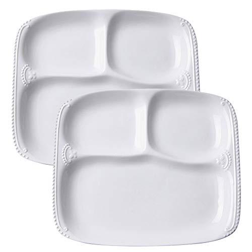 TAMUME Assiette en Porcelaine Blanche avec 3 Compartiments pour Une Personne, Plateau Rectangulaire 3-en-1 avec Motif à Perles - 10' * 8.5' * 1'