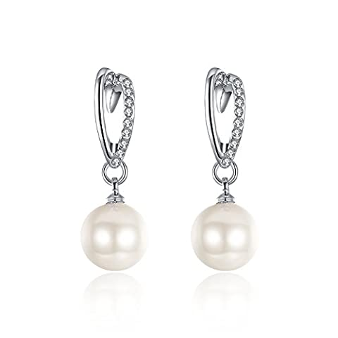 BODYA 18K white gold Plated CZ Crystals 11MM White Faux Pearl Bridal Drop Dangle Earrings