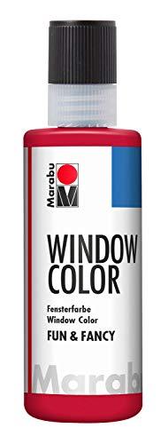 Marabu 04060004038 - Window Color fun & fancy, Transparentfarbe auf Wasserbasis, ablösbar auf glatten Flächen wie Glas, Spiegel, Fliesen und Folie, 80 ml, rubinrot Fancy Rock