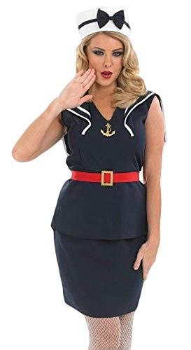 Fancy Me Damen Sexy 1940s Jahre Pin Up Matrose Streitkräfte Junggesellinnenabschied Kostüm Kleid Outfit UK 8-26 Übergröße - Blau, 8-10