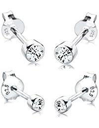 Elli Women's Earrings Set of 2 Basic Stud Earrings with Swarovski Crystals in 925 Sterling Silver