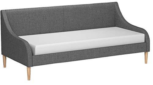 en.casa Bequemes Tagesbett aus Stoff in dunkelgrau - mit Holzbeinen - 200cm x 90xm - mit Matratze