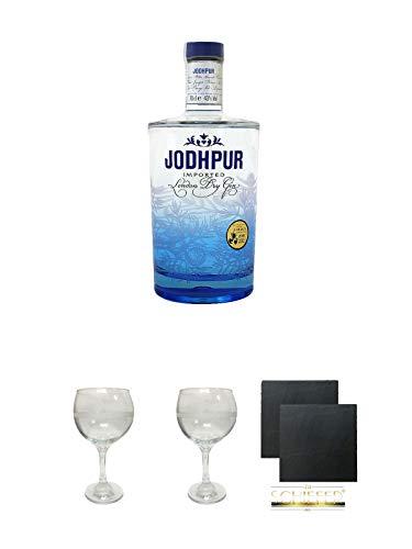Jodhpur Premium London Dry Gin England 0,7 Liter + The London Gin No 1 GIN Glas 1 Stück + The London Gin No 1 GIN Glas 1 Stück + Schiefer Glasuntersetzer eckig ca. 9,5 cm Ø 2 Stück