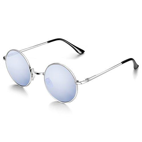 Menton Ezil Runde Retro Lennon Sonnenbrille Vintage Polarisierte Linsen Metall Gestell Rundbrille Hippi Brille Outdoor-Brille für Frauen und Männer (Silber)