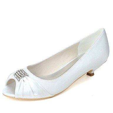 Best 4u® da donna scarpe raso primavera estate decolleté scarpe da sposa kitten punta aperta con diamantini per matrimonio serata e festa argento champagne us9/eu40/uk7/cn41