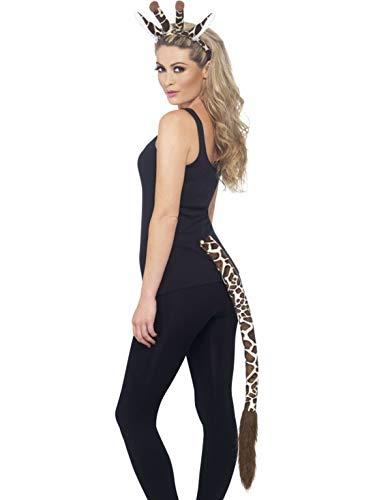 Luxuspiraten - Kostüm Accessoires Zubehör Damen Plüsch Giraffen Fell Set aus Ohren und langem Schwanz, perfekt für Karneval, Fasching und Fastnacht, ()