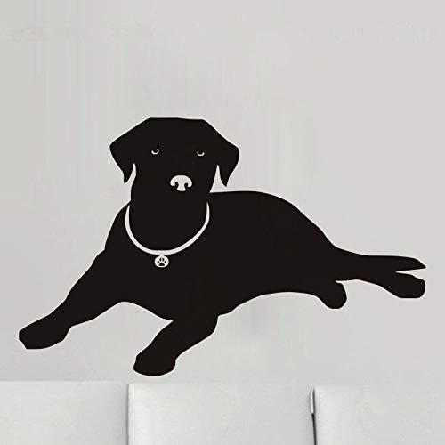 Geiqianjiumai Liegender Hund Applique Labrador Silhouette Vinyl Wandtattoo Wohnzimmer Abnehmbar Schwarz 88x56cm