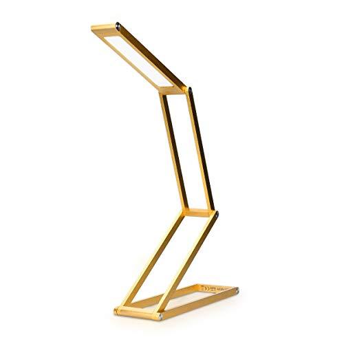 kwmobile LED Aluminium Tischlampe faltbar - Akku Nachttisch Leselampe dimmbar Micro USB Ladekabel - Akku Schreibtischlampe Faltlampe in Gold -