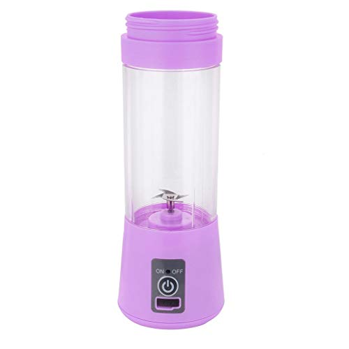 Tragbarer Mixer, 12shage 380ml Smoothie Maker Mixer, Multifunctional Elektrischer Mini Standmixer mit 4 Edelstahlmesser USB 2000mAh Akku für Smoothies, Obst und Gemüse (Lila)