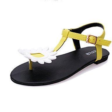 LvYuan Sandalen-Lässig-PU-Flacher Absatz-Komfort-Gelb Weiß White