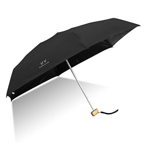 Paraguas Plegable de Viaje Compacto Sheng Xuan Ultraligero Mini Paraguas Sombrilla Prueba de Viento(95% DE Resistencia UV) Paraguas Proteccion del Sol Mujer Chica a su Compañero íntimo(Negro)