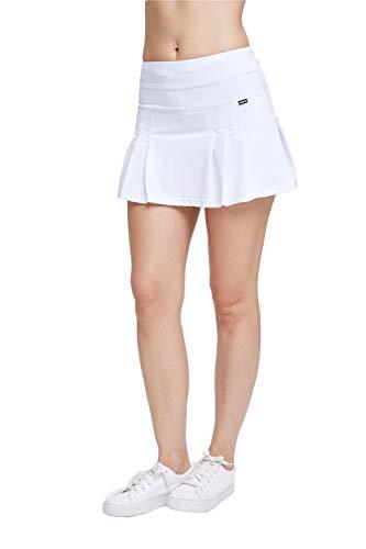 EZ-Joyce Damen Plissee-Sport-Rock für Tennis- und Golfsport, mit Taschen, integrierte Shorts - Weiß - X-Klein - Mini Petite Rock