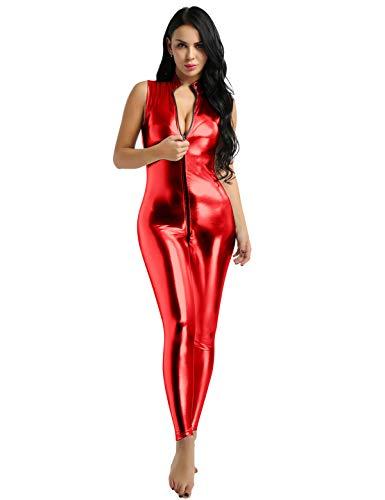 CHICTRY Damen Einteiler Wetlook Kunstleder Bodysuit Latex Overall Jumpsuit Ärmellos Trikot Doppel Reißverschluss Ouvert-Body Clubwear Rot Medium
